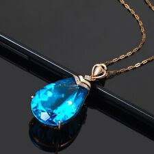 14K Rose Gold Plated Necklace with Blue Sapphire Pendant UK Seller