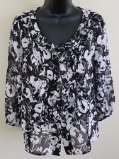 Ann Klein Womens Tunic Blouse Size PM Black White Sheer Ruffled Button Down (b)