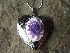 PURPLE/WHITE ROSE CAMEO SILVER PLATED HEART LOCKET - UNIQUE, HANDMADE