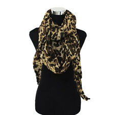 Large Leopard Cheetah Brown Black Animal Print Cowl Infinity Loop Scarf Wrap