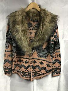 Women's Pink White Aztek Pattern Cardigan With Fur Collar Size 6 RIVER ISLAND