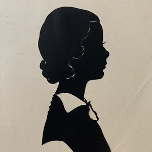 Antique/Vintage John Van Bibber Silhouette Art Girl Young Woman Dixon Illinois
