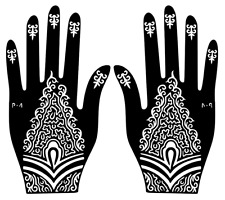 Temporary Tattoo Henna Glitter Hand Stencil Sticker Body Art Vinyl Template