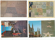 B3330 1940-50 POSTCARD LOT OF 4 DIFF HOLLYWOOD CA STAR MOVIE WALK