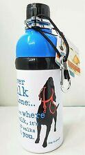 Dog Water Bottle-Stainless Steel BPA Freel-10 oz-Carabiner-Easy Fill-Roller Ball