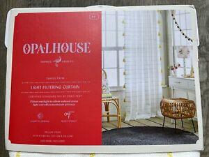 NEW OPALHOUSE 2 Yellow Stripe Light Filtering Curtain Panel w Tassels Trim 84x54