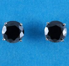 NEW 8mm Created Black Diamond Studs Earrings 925 Sterling Silver made in UK