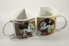 Minnie & Mickey Mouse Disney Coffee Valentine Mug Set Flat Side Red & Green 2011
