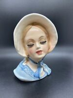 "6¼"" TOPLINE IMPORTS JAPAN LADY HEAD VASE 59/426 BLUE BONNET & SCARF FOIL STICKER"