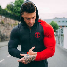 Men's Gym Fitness Hooded Zipper Sweatshirts+Bodybuilding Jogger Tracksuits Suits