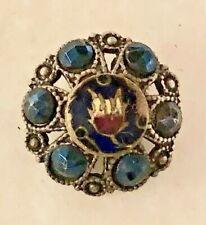 Ex. Rare Tiffany Style TULIP Button, Blue Cut Steels