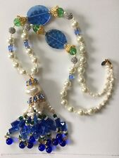 LAWRENCE VRBA Stunning Unique Crystal Art Glass Pearl Long Chain Necklace