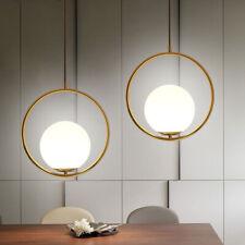 Golden Metal Ring Hanging Pendant Light Living Room Lighting& Globe Glass Shade