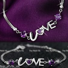 925 Sterling Silver Love Bracelet Gift for her Girlfriend Wife Daughter Mum Sis