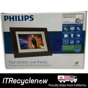 """Philips 10"""" LED Mahogany Wood Frame Picture Wall Digital Desk Photos Panel"""
