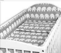 BABY 5PC BEDDING SET ALLROUND BUMPER COTBED 140x70CM Elephants Grey