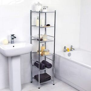 6 Tier Metal Rust Resistant Free Standing Chrome Bathroom Shelf Storage Unit