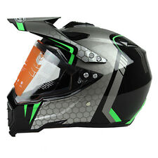 Full Face ATV Helmet Dirt Bike Motorcross Off-road Visor Lens Black Green M-XXL