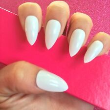 Hand Painted Full Cover False Nails. Stiletto High Gloss White Nails. 24 Nails