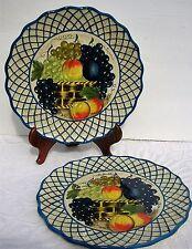 2 Raymond Waites Studio Certified International Dinner Plate Fruit Yellow Basket