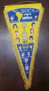 rare Argentina Pennant BOCA JUNIORS 1977 Champion COPA LIBERTADORES DE AMERICA