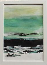 Landschaft See Bild Abstrakt Kunst Bilder Wandbild Büttenpapier Signiert 24 x 32