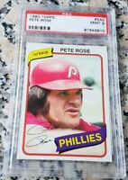PETE ROSE 1980 Topps PSA 9 MINT World Series Champion Philadelphia Phillies $$$