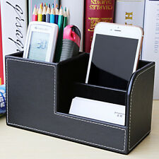 Portable Desk Organizer Box PU Leather Office Home Storage Pen Holder Box New