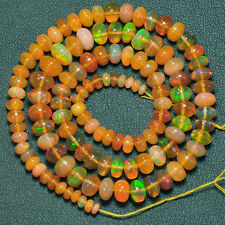 3mm-7.2mm Fine Ethiopian Welo Opal Smooth Rondelle Beads 16.5 inch Strand