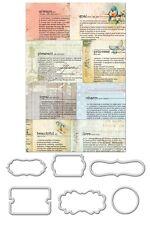 "Prima  563455  ""Newsprint Mini Decorative Frames Divine"" 7  Pieces NEW"