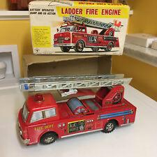 YONEZAWA TIN B/O LADDER FIRE ENGINE FULLY OPERATIONAL, WITH ORIGINAL BOX!