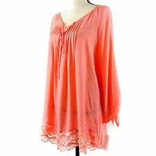 NY Collection Top Womens Sz 2X Coral Orange 3/4 Sleeve Crochet Lace Boho Peasant