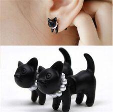 Fashion Cute Impalement Pearl Black Cat Ear Stud Womens Piercing Earring 1PC