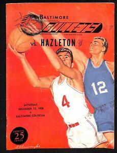 1958 EPBL Hazleton @ Baltimore Bullets Basketball Program 12/13 Rare 78226