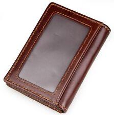 Mens Slim Front Pocket Bifold Wallet Genuine Leather Credit Card Holder