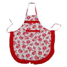 Women Apron with Ruffle Pocket Floral Roses for Cooking Kitchen AD
