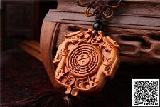 Rose Wood Carving Chinese Taoism Symbol Gossip Dragon Car Pendant Amulet Wooden