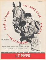1954 PIVER  perfume Horsewoman & Horse riding Rider ad  Vintage Advertising - Z2