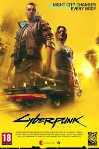 "Cyberpunk 2077 Video Game Poster Keanu Reeves Art Silk Print 40x27"" 36x24"""