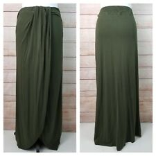 Forever 21 L Olive Green Maxi Skirt Split Front Mini Lining Gathered Draping