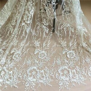 Embroidered Flower Lace Applique Patch Fabric Wedding Bridal Dresses Decor Craft