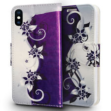 FOR APPLE IPHONE XS MAX PURPLE VINES FLIP JACKET WALLET POUCH HYBRID CASE COVER