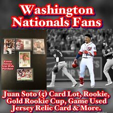 Washington Nationals Juan Soto (5) Card Lot, Rookie, Gold Rookie Cup, Game Used