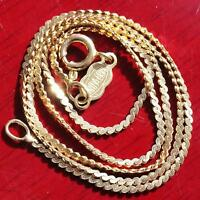 "UnoAErre 14k 585 yellow gold necklace 15.25"" Italian serpentine link chain 2.9gr"
