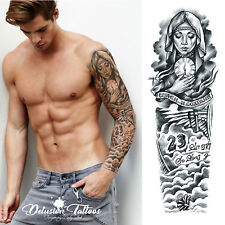 REALISTIC TEMPORARY TATTOO SLEEVE, ARM, BECKHAM, ANGEL, 23, BLACK, MENS, WOMENS