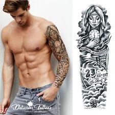 Brazo de Manga Tatuaje temporal realista,, Beckham, Ángel, 23, Negro, Para Hombre, Para Mujer