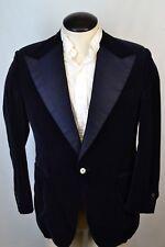 H. Hunstman & Sons Savile Row Blue Velvet Embroidered Lapel 2 Pc Tuxedo Sz 38R