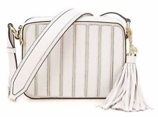 New MICHAEL KORS Brooklyn APPLIQUE STRIPE LARGE Camera Bag $278 NAT/WHITE
