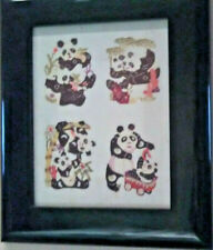 chinese hand cut paper panda bears frame glass pastels artisan collectibles