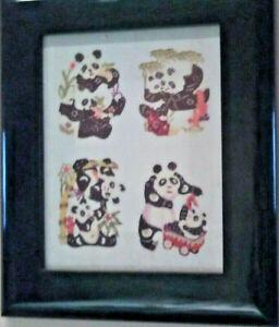 Panda Hand Cut chinese paper 4 pcs bear frame glass pastel artisan collectible